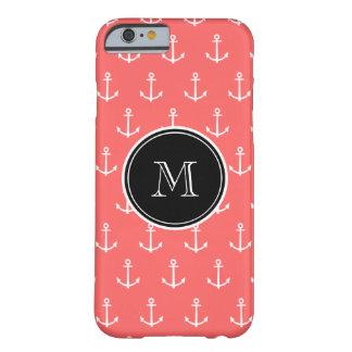 Korallvit ankrar mönster, svart Monogram Barely There iPhone 6 Skal