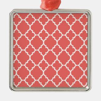 KorallvitQuatrefoil marockanskt mönster Silverfärgad Fyrkantigt Julgransprydnad