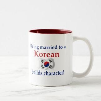 Koreanen bygger teckenet Två-Tonad mugg