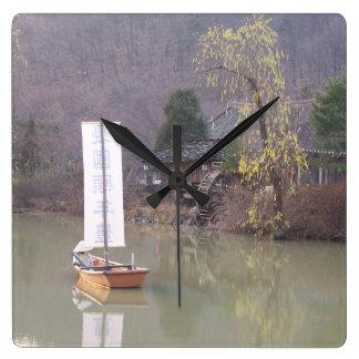 Koreanen landskap tar tid på fyrkantig klocka