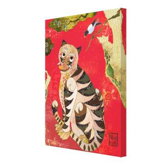 Koreansk Folk konst för skata och för tiger Canvastryck