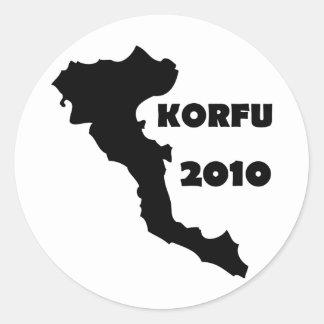 korfu 2010 runt klistermärke