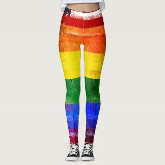Korn & Paintstrokes för amerikanregnbågeflagga   Leggings