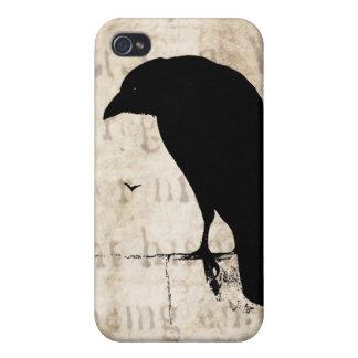 Korpsvart Silhouette - Retro Ravens & kråkor för iPhone 4 Skal