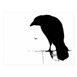 Korpsvart Silhouette - vintage Goth Ravens & gal Vykort