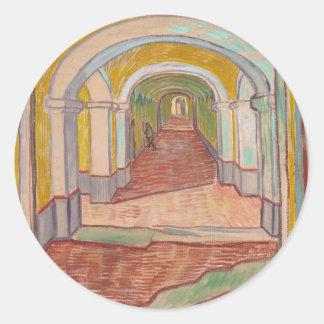 Korridor i det St Paul sjukhuset Vincent Van Gogh Runt Klistermärke