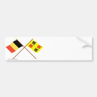 Korsad Belgien och Hainaut flaggor Bildekal