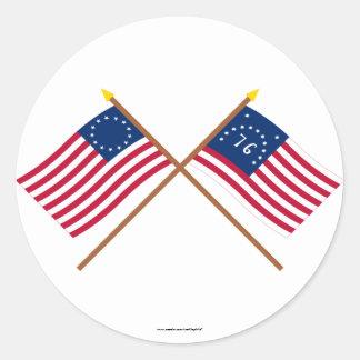 Korsad Betsy Ross och Bennington flaggor Runt Klistermärke