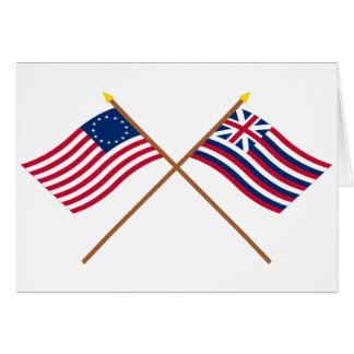Korsad Betsy Ross och brigantinLexington flaggor Hälsningskort