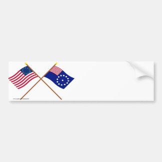 Korsad Betsy Ross och Easton flaggor Bildekal