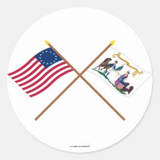 Korsad Betsy Ross & Washington livräddareflaggor Runt Klistermärke