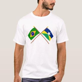 Korsad flaggor av Brasilien och Rondônia T-shirt