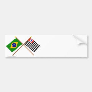 Korsad flaggor av Brasilien och São Paulo Bildekal