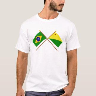 Korsad flaggor av Brasilien och tunnlandet Tshirts