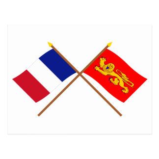 Korsad flaggor av frankriken och Aquitaine Vykort