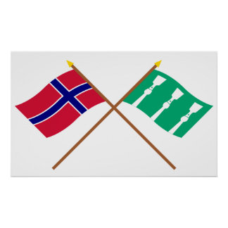 Korsad flaggor av norgen och Hedmark Print