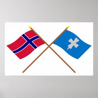 Korsad flaggor av norgen och Rogaland Poster