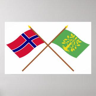 Korsad flaggor av norgen och vesten-Agder Poster