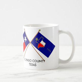 Korsad flaggor av Texas och El Paso County Kaffemugg