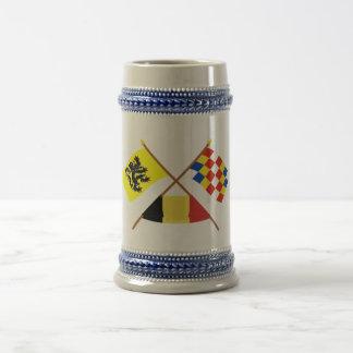 Korsad Flanders och Antwerp flaggor med Belgien Sejdel