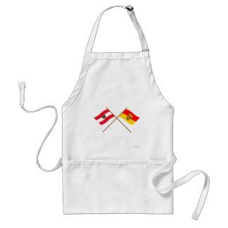 Korsad Österrike och Burgenland flaggor Förkläde