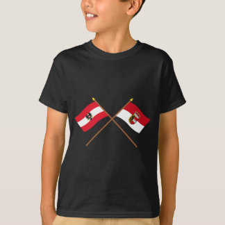 Korsad Österrike och Salzburg flaggor Tee Shirt