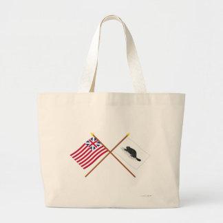 Korsad storslagen facklig flagga och New York Ensi Kasse