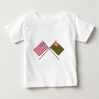 Korsad storslagen union- och Delaware milisflaggor Tshirts