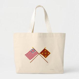 Korsad storslagen union och Pulaski flaggor Tote Bags