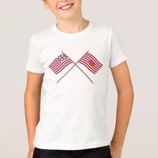 Korsad storslagen union- och Sheldons hästflaggor Tshirts