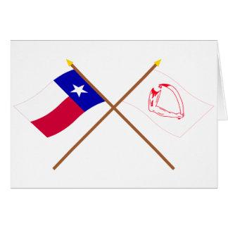 Korsad Texas och Goliad flaggor Hälsningskort