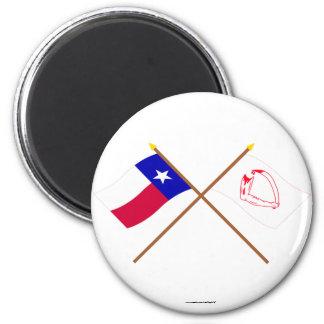 Korsad Texas och Goliad flaggor Magnet Rund 5.7 Cm