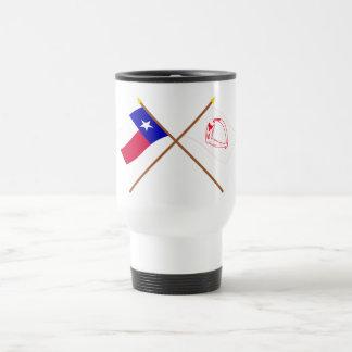 Korsad Texas och Goliad flaggor Rostfritt Stål Resemugg