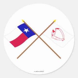 Korsad Texas och Goliad flaggor Runt Klistermärke
