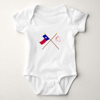 Korsad Texas och Goliad flaggor T-shirts
