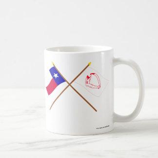 Korsad Texas och Goliad flaggor Vit Mugg