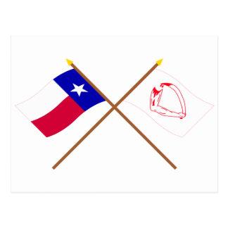 Korsad Texas och Goliad flaggor Vykort