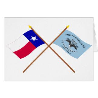 Korsad Texas och New Orleans Greysflaggor Hälsningskort