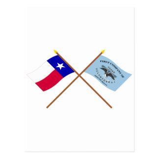 Korsad Texas och New Orleans Greysflaggor Vykort