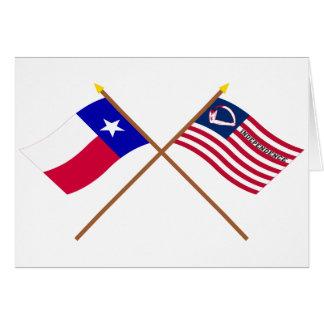 Korsad Texas och Velasco flaggor Hälsningskort