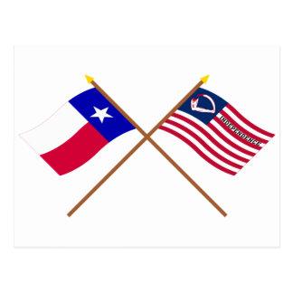 Korsad Texas och Velasco flaggor Vykort