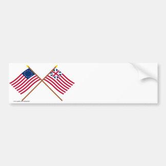 Korsade Betsy Ross och storslagen facklig flaggor Bildekal