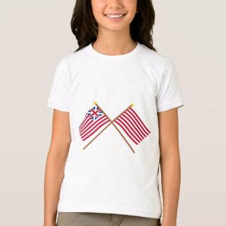 Korsade storslagna union och Sons av frihetflaggor T-shirts