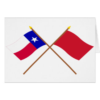 Korsade Texas och Alabama röd Roversflaggor Hälsningskort