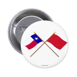 Korsade Texas och Alabama röd Roversflaggor Standard Knapp Rund 5.7 Cm