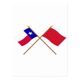 Korsade Texas och Alabama röd Roversflaggor Vykort