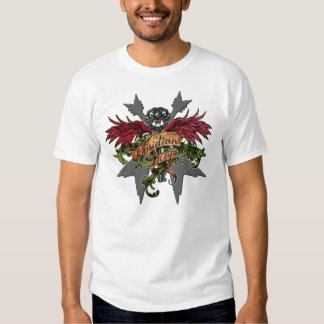 Korsat Vs och klar nyckel- skalle - Obsidiannyckel T Shirts