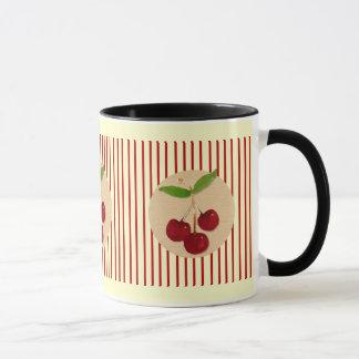 Körsbär och randmugg mugg