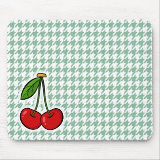 Körsbär på havsgrönt Houndstooth Musmatta