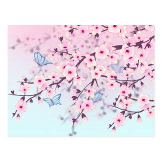 Körsbärblommar och fjärilar vykort